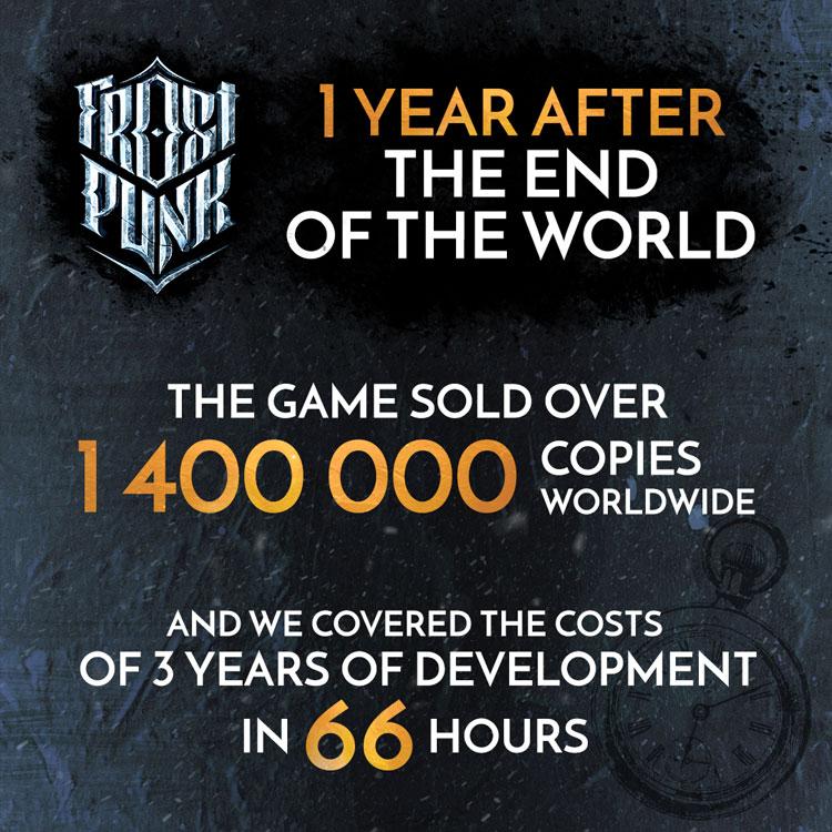 فروش ۱.۴ میلیون نسخه از بازی فراست پانک - Frostpunk در اولین سال انتشار