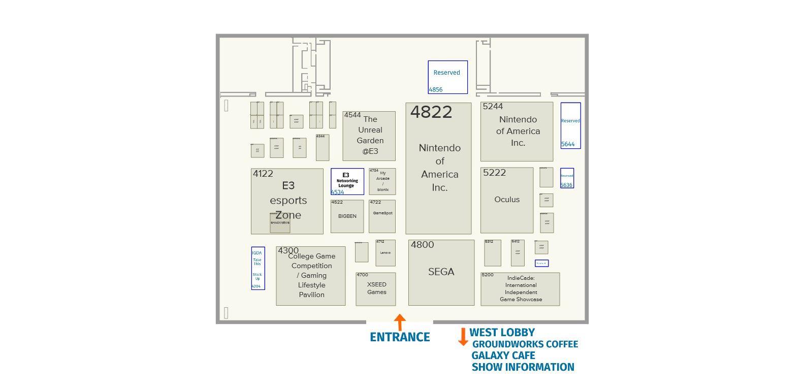 نقشه غرفههای نمایشگاه E3 2019 در یک نگاه