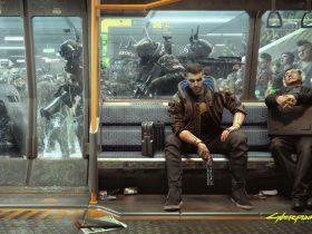 نمایش پوستر شخصیت V بازی سایبرپانک 2077 در مترو Night City