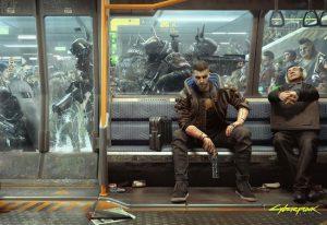 پوستر V شخصیت اصلی بازی سایبر پانک 2077 در مترو Night City
