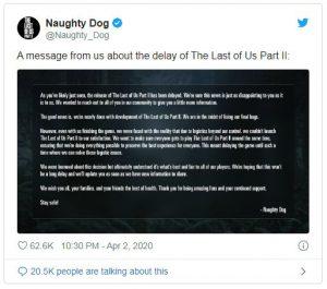 تاخیر انتشار بازی لست آو آس 2
