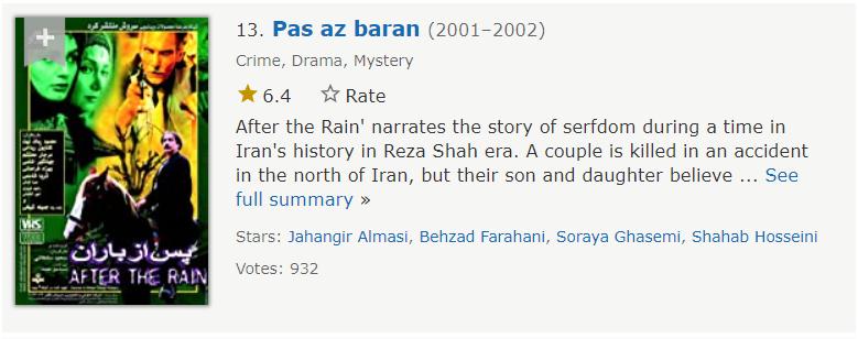 سریال پس از باران سیزدهمین مورد از بهترین سریال های ایرانی در imdb