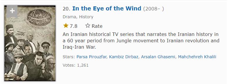 سریال تاریخی در چشم باد با بازی پارسا پیروزفر هفدهمین مورد از بهترین سریال های ایرانی در imdb