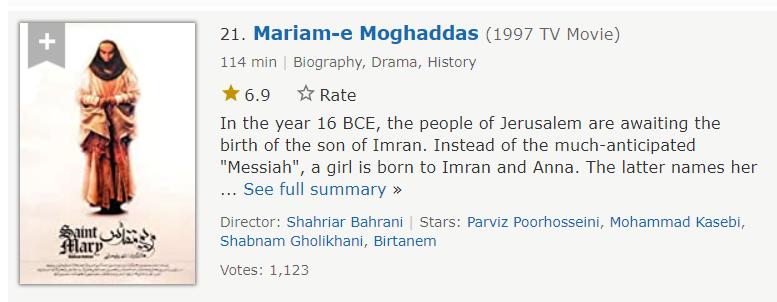 سریال مریم مقدس با بازی شنبم قلی خانی هجدهمین مورد از بهترین سریال های ایرانی در imdb