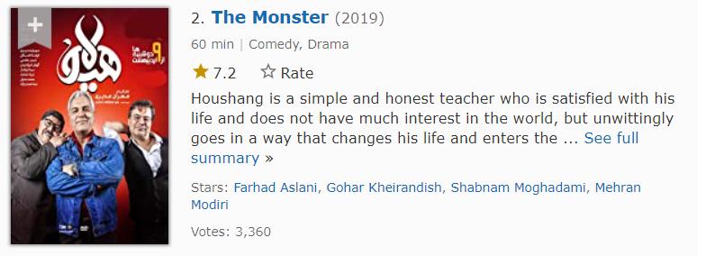 هیولا دومین مورد از بهترین سریال های ایرانی در imdb