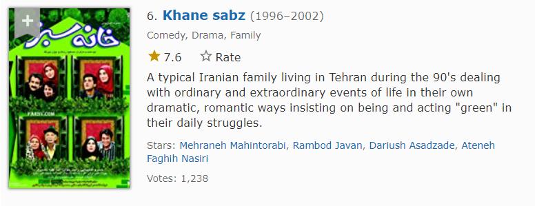 خانه سبز ششمین مورد از بهترین سریال های ایرانی در imdb